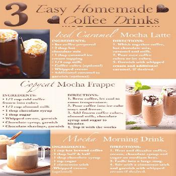 3 Easy homemade coffee drinks for coffee lovers everywhere. These coffee recipes go hand in hand wi