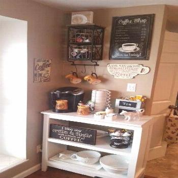 34+ Outstanding DIY Coffee Bar Ideas for Your Cozy Home / Coffee Shop Tiny House Kitchen Ideas - Sh