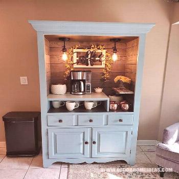 50+ Best DIY Coffee Station Ideas For All Coffee Lovers Coffee Bar Made From Hutch. Perfect coffee