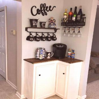 50+ Best DIY Coffee Station Ideas For All Coffee Lovers -  Tiny Space Corner Coffee Bar  -