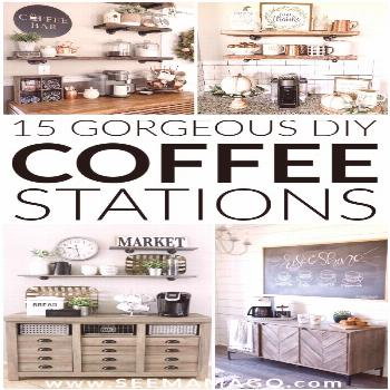 DIY Coffee stations you can easily create in your own home! These simple farmhouse style coffee bar