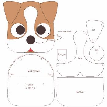 Free sewing pattern to make cute Jack Russell inspired Dog Coin Purse with zipper closure. Template