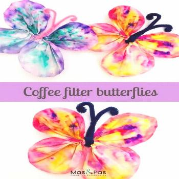 Fun kids crafts - make these beautiful coffee filter butterflies using just coffee filters and pain