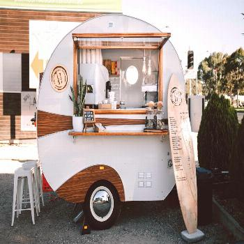 Our cute little vintage coffee trailer on the Surf Coast Highway in in its full glory ?Did you k